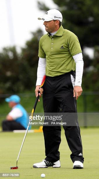 Spain's Sergio Garcia rues a missed putt during the Final day of The 136th Open Championships at Carnoustie Scotland