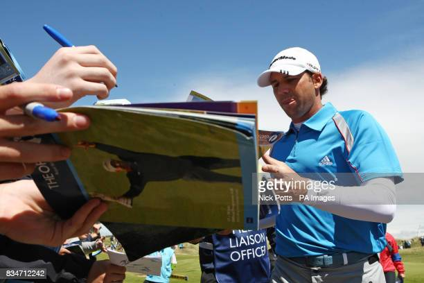Spain's Sergio Garcia signs autographs during a practice round at the Royal Birkdale Golf Club Southport