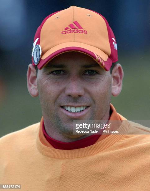 Spain's Sergio Garcia smiles after a birdie on the 1st hole during the third day of The 136th Open Championships at Carnoustie Scotland