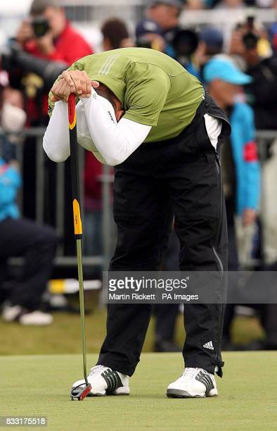Spain's Sergio Garcia stands dejected after missing a putt on the 18th to win the Open Championship during the Final day of The 136th Open...