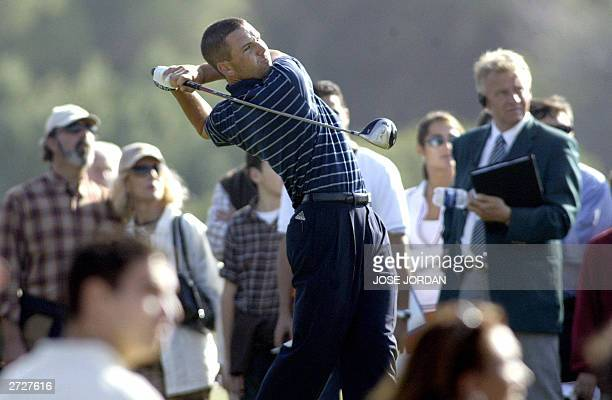 Spain's Sergio Garcia tees off during the fourth day of the Seve Trophy 2003 at the EL Saler golf club in Valencia 09 November 2003 AFP PHOTO JOSE...