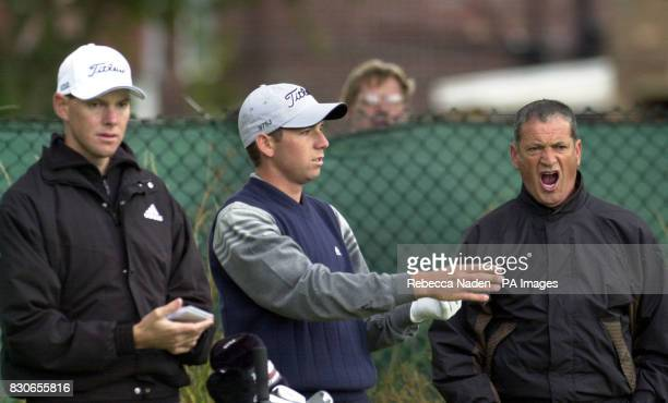 Spain's Sergio Garcia with his father Victor and caddie Glenn Murray during a practice session at the130th Open Championship at the Royal Lytham St...