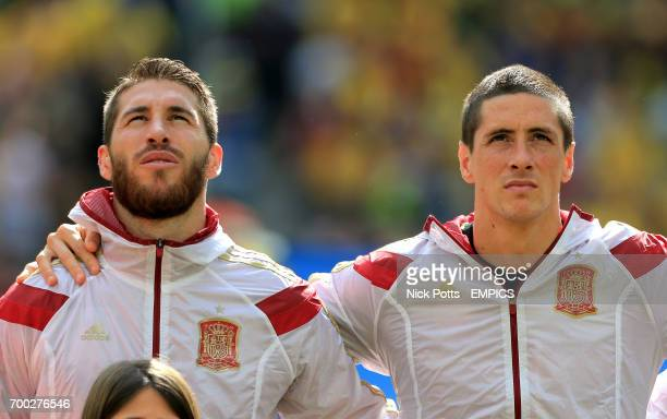 Spain's Sergio Ramos and Spain's Fernando Torres during the nation anthem
