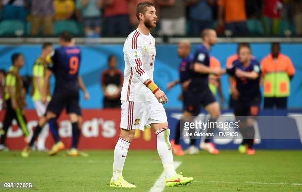 Spain's Sergio Ramos looks dejected after Netherland's' Arjen Robben scores their second goal
