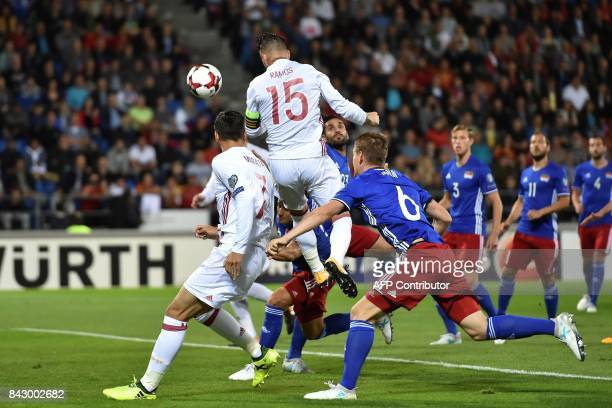 Spain's Sergio Ramos scores a goal during the FIFA World Cup 2018 qualification football match between Liechtenstein and Spain on September 5 2017 in...
