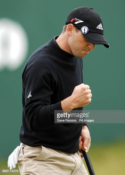 Spain's Sergo Garcia clenches his fist after making his par on the 18th during the second day of The 136th Open Championships at Carnoustie Scotland
