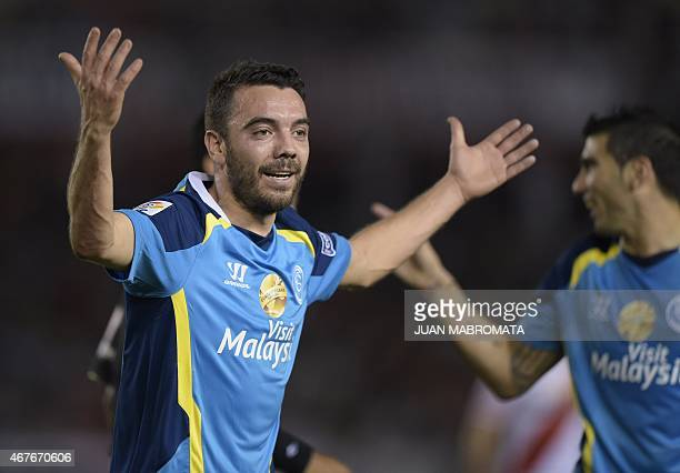 Spain's Sevilla forward Iago Aspas reacts during the 2015 EuroAmerican Super Cup football match against Argentina's River Plate at the Monumental...