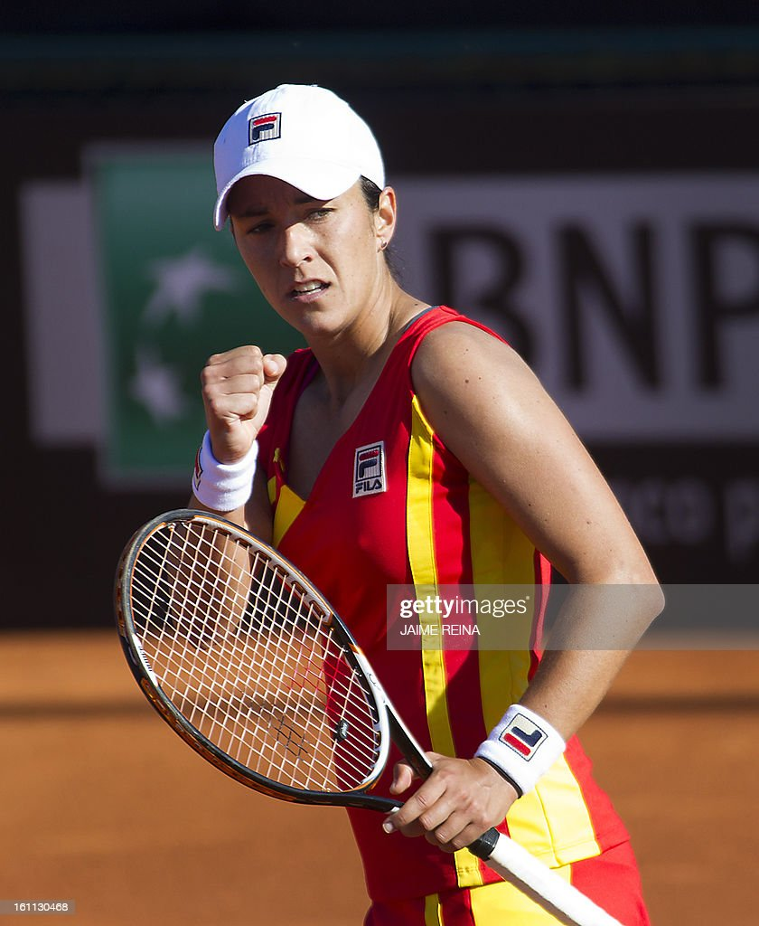 Spain's Silvia Soler celebrates a point against Ukraine's Lesia Tsurenko during their International Tennis Federation Fed Cup World Group 2 match in Alicante on February 9, 2013. Soler won 7-5, 6-4. AFP PHOTO/ JAIME REINA