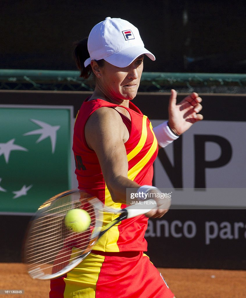 Spain's Silvia Soler returns the ball to Ukraine's Lesia Tsurenko during their International Tennis Federation Fed Cup World Group 2 match in Alicante on February 9, 2013. Soler won 7-5, 6-4.