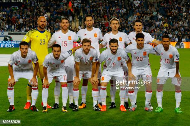 Spain's starting eleven goalkeeper Pepe Reina defender Sergio Ramos midfielder Sergio Busquets Nacho Monreal forward Artiz Aduriz defender Cesar...