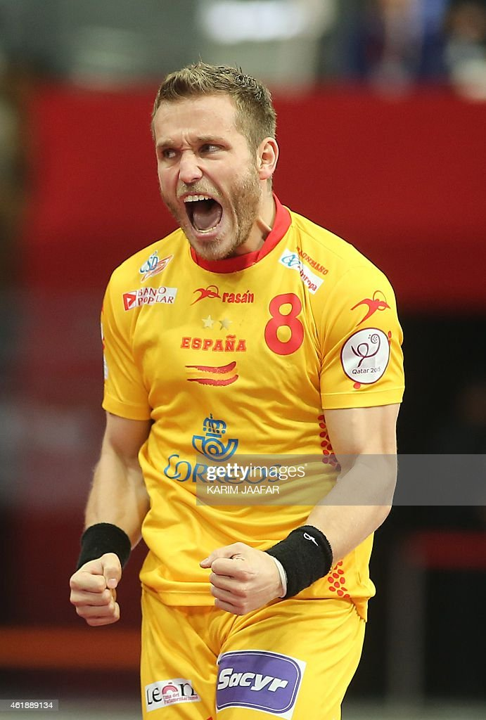 Spain's <a gi-track='captionPersonalityLinkClicked' href=/galleries/search?phrase=Victor+Tomas&family=editorial&specificpeople=3260334 ng-click='$event.stopPropagation()'>Victor Tomas</a> reacts during the 24th Men's Handball World Championships preliminary round Group A match between Qatar and Spain at the Lusail Sports Arena in Lusail in Doha on January 21, 2015.