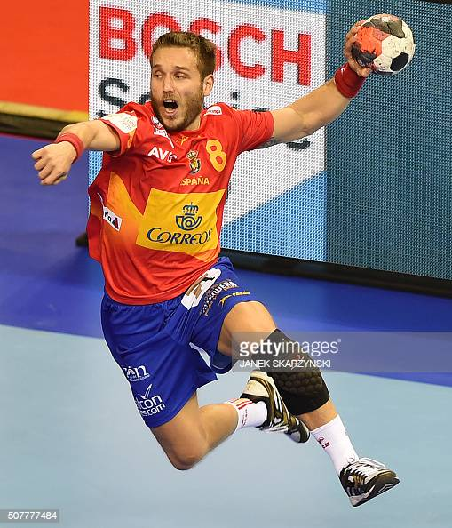 Spain's Victor Tomas throws the ball during the final match of the Men's 2016 EHF European Handball Championship between Germany and Spain in Krakow...