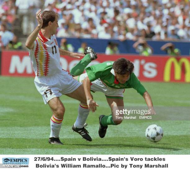Spain's Voro tackles Bolivia's William Ramallo