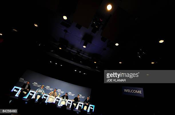 Spain's Xavi Fernando Torres Portugal's football players Cristiano Ronaldo Argentina's Lionel Messi and Brasil's Kaka attend a press conference prior...
