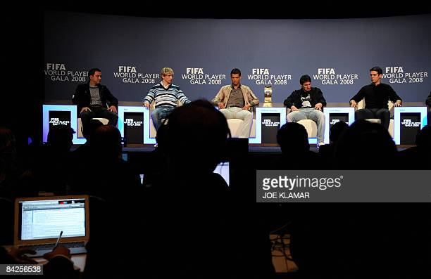 Spain's Xavi Spain's Fernando Torres Portugal's football player Cristiano Ronaldo Argentina's Lionel Messi and Brasil's Kakaa speak during a press...