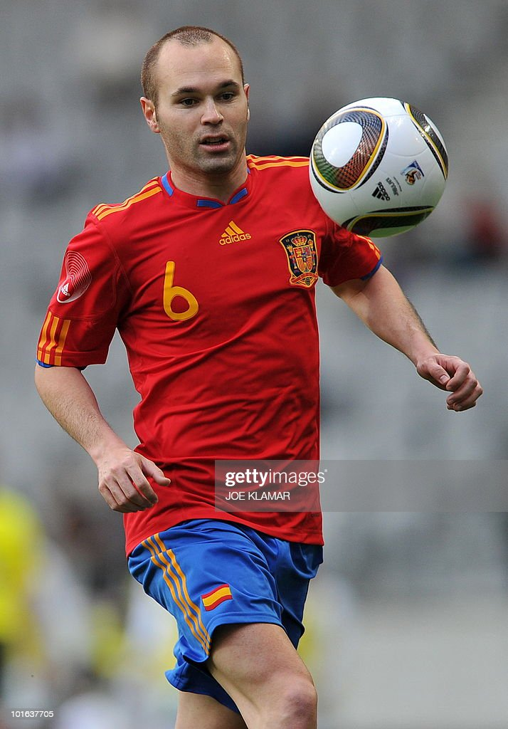 Spains's Andres Iniesta eyes a ball during a friendly match between Spain and Saudi Arabia in Tyrolian Innsbruck on 29 May, 2010.