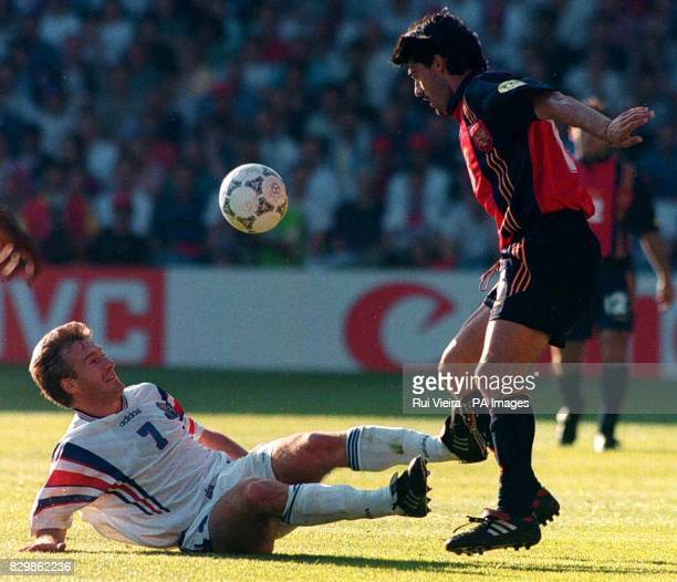 Spains's Jose Caminero and France's Didier Deschamps during this evenings Euro '96 clash at Leeds Elland Road ground Photo by Rui Vieira/PA