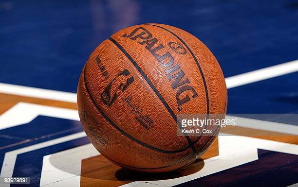 Spalding basketball sits on the floor during the game between the Atlanta Hawks and the Toronto Raptors at Philips Arena on December 2 2009 in...