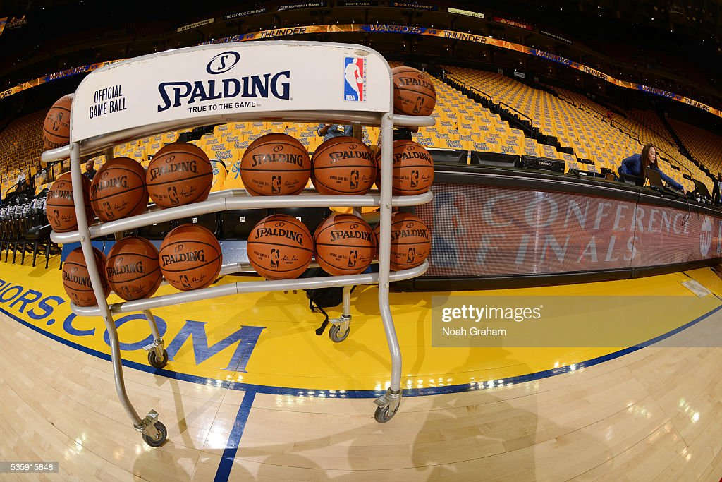 Spalding NBA Basketballs are displayed before the game between the Golden State Warriors and the Oklahoma City Thunder in Game Seven of the Western Conference Finals during the 2016 NBA Playoffs on May 30, 2016 at ORACLE Arena in Oakland, California.