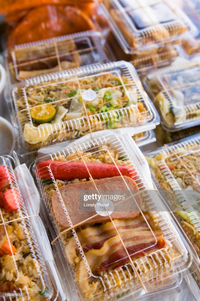 Spam bento boxes, Farmer's Market, Hilo, East Coast. : Stock Photo