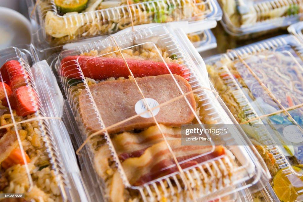 Spam bento boxes, Farmer's Market, Hilo, East Coast. : Stock Photo