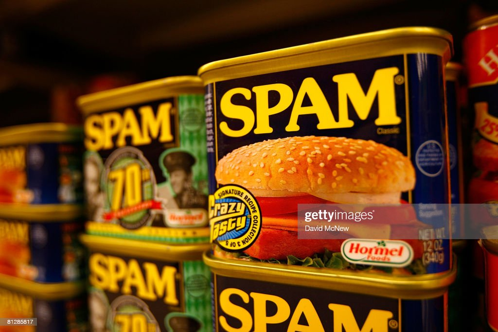 Spam, the often-maligned classic canned lunch meat made by Hormel Foods, is seen on a grocery store shelf May 29, 2008 in Sierra Madre, California. With the rise in food prices, sales of Spam are increasing as consumers look for ways to cut their food bills. According to the US Agriculture Department, the price of food is rising at the fastest rate since 1990. Increasingly expensive staples include such items as white bread, up 13 percent over last year, butter, up nine percent, and bacon at seven percent. The increasing sales have translated to 14 percent higher profits for Hormel. Spam was created in 1937 and was popularized as a staple food for World War II Western allied forces.