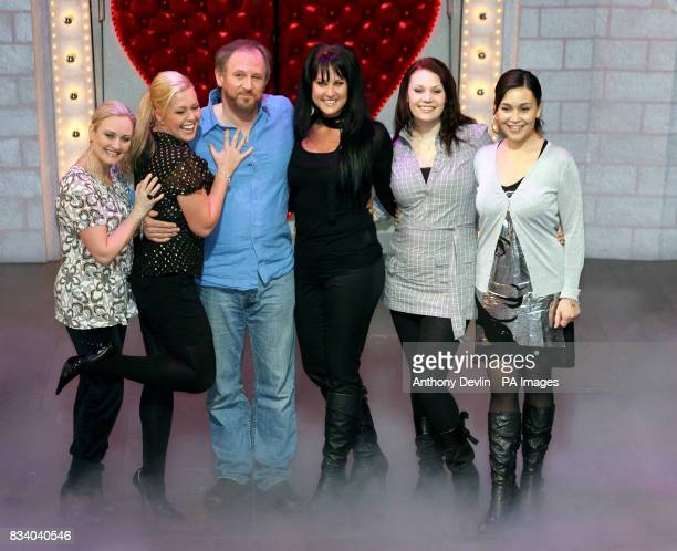 Spamalot's King Arthur Peter Davison poses with five finalists from Sweden's reality TV show 'West End Star' at the Palace Theatre in west London