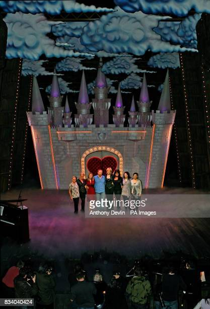 Spamalot's King Arthur Peter Davison poses with the leading ladies and five finalists from Sweden's reality TV show 'West End Star' at the Palace...