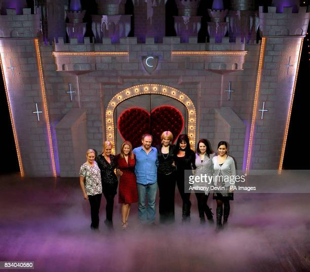 Spamalot's King Arthur Peter Davison poses with the leading ladies and five finalists from Sweden's reality TV show West End Star at the Palace...