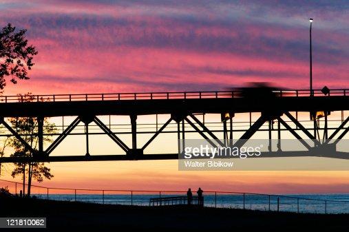 Span of the Mackinac Bridge, Straits of Mackinac between Lakes Michigan and Huron, Mackinac Bridge  : Stock Photo