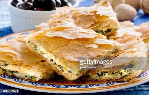 OPA! Spanakopita - Greek Spinach Pie with Olivess : Stock Photo