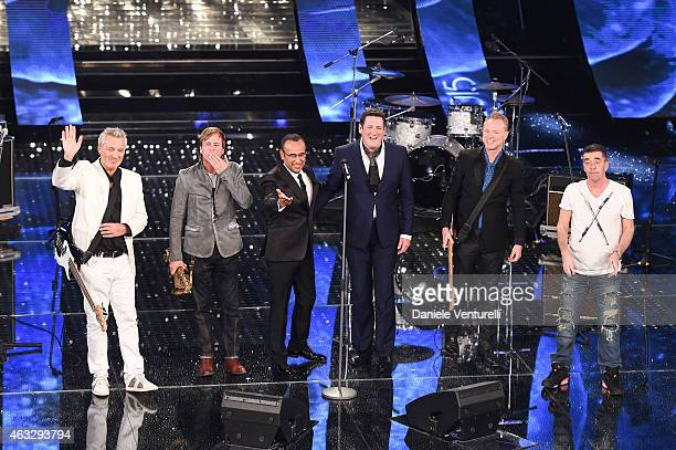 Spandau Ballet and Carlo Conti attend the thirth night of 65th Festival di Sanremo 2015 at Teatro Ariston on February 12 2015 in Sanremo Italy