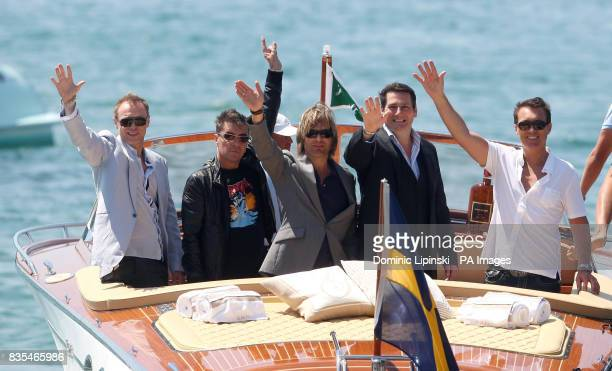 Spandau Ballet arrive for a photocall at Nikki Beach in Cannes as part of the 62nd annual Cannes Film Festival