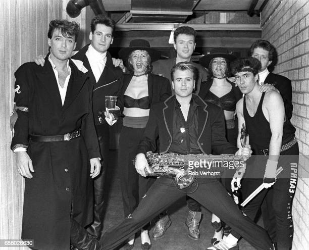 Spandau Ballet group portrait backstage Ahoy Rotterdam Netherlands 28th February 1987 LR Martin Kemp Tony Hadley unidentified Gary Kemp Steve Norman...