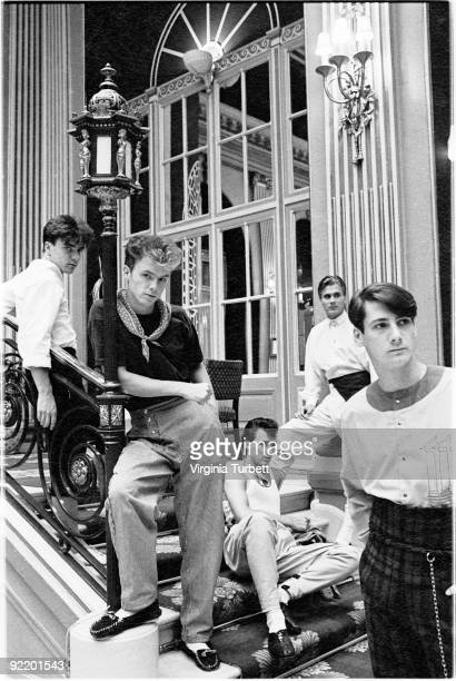 Spandau Ballet posed in the Ritz Hotel London on August 12 1980 LR John Keeble Gary Kemp Martin Kemp Steve Norman Tony Hadley