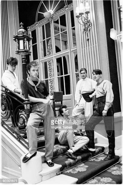 Spandau Ballet posed in the Ritz Hotel London on August 12 1980 LR John Keeble Gary Kemp Martin Kemp Steve Norman Tony Hadley