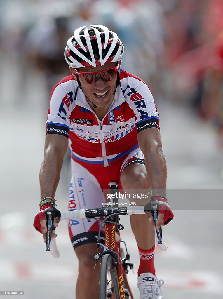 Spaniard Joaquin Rodriguez 'Purito' (Katusha) rides on September 1, 2013 after the ninth stage of the 68th edition of 'La Vuelta' Tour of Spain, a 163.7 km route between Antequera and Valdepenas de Jaen. Spaniard Daniel Moreno (Katusha) edged out compatriots Alejandro Valverde (Movistar) and Joaquim Rodriguez (Katusha) by four seconds with overnight leader Nicholas Roche (Saxo) finishing fourth, eight seconds behind.