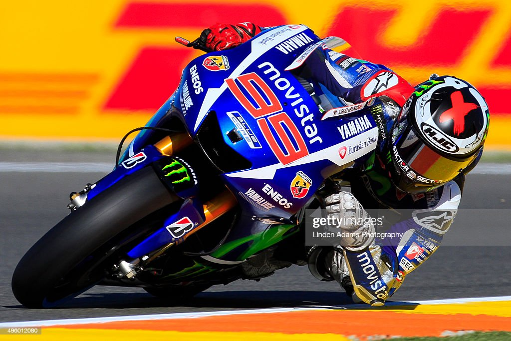 Spaniard <a gi-track='captionPersonalityLinkClicked' href=/galleries/search?phrase=Jorge+Lorenzo&family=editorial&specificpeople=543869 ng-click='$event.stopPropagation()'>Jorge Lorenzo</a> on board the Movistar Yamaha during Free Practice 2 at Comunitat Valenciana Ricardo Tormo Circuit on November 6, 2015 in Valencia, Spain.