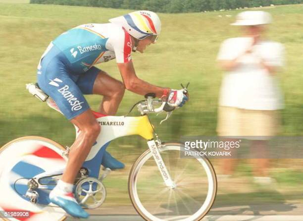 Spaniard Miguel Indurain dashes away 09 July during the time trial of the eigth stage of the Tour de France near Seraing Belgium Miguel Indurain...
