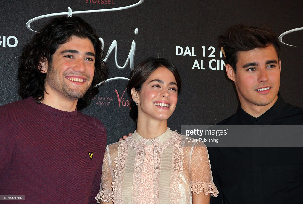 Spanish actor Adrian Salzedo Argentinian actress Martina Stoessel and Mexican actor Jorge Blanco pose during a photocall of the movie Tini - La Nuova Vita Di Violetta (Tini - The New Life of Violetta), on April 29,2016 in Rome, Italy. Marco Ravagli / Barcroft Images hello@barcroftmedia.com - +1 212 796 2458 +91 11 4053 2429