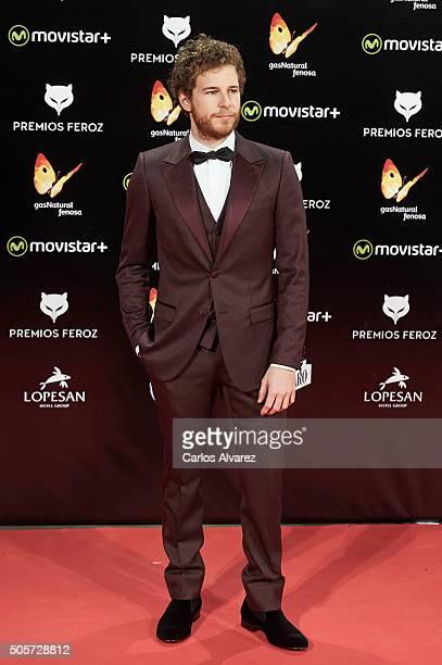 Spanish actor Alvaro Cervantes attends the Feroz Awards 2016 red carpet at the Gran Teatro Principe Pio on January 19 2016 in Madrid Spain