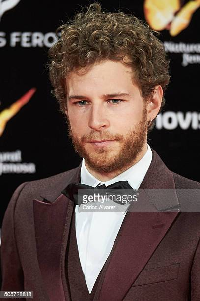 Spanish actor Alvaro Cervantes attends the Feroz Awards 2016 red carpet at the Gran Teatro Principe Pio on January 19 2016 in Madrid Spain