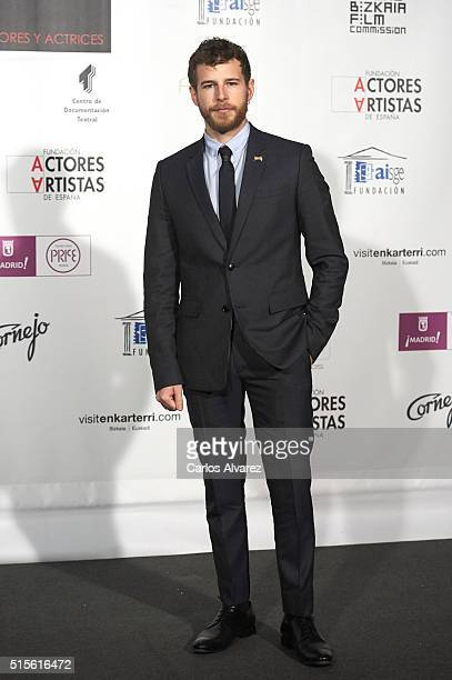 Spanish actor Alvaro Cervantes attends the Union de Actores awards 25th anniversary at the Circo Price on March 14 2016 in Madrid Spain