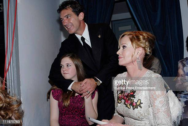 Spanish actor Antonio Banderas announces the opening of the Malaga Holy Week accompanied by his wife Melanie Griffith and his daughter Stella del...