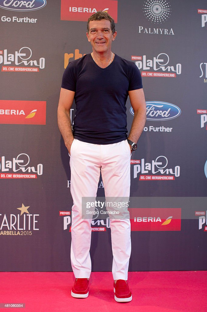 Spanish actor, <a gi-track='captionPersonalityLinkClicked' href=/galleries/search?phrase=Antonio+Banderas&family=editorial&specificpeople=171176 ng-click='$event.stopPropagation()'>Antonio Banderas</a>, attends a photocall before the TNTLA Platino Awards 2015 press conference at Hotel Los Monteros on July 17, 2015 in Marbella, Spain.