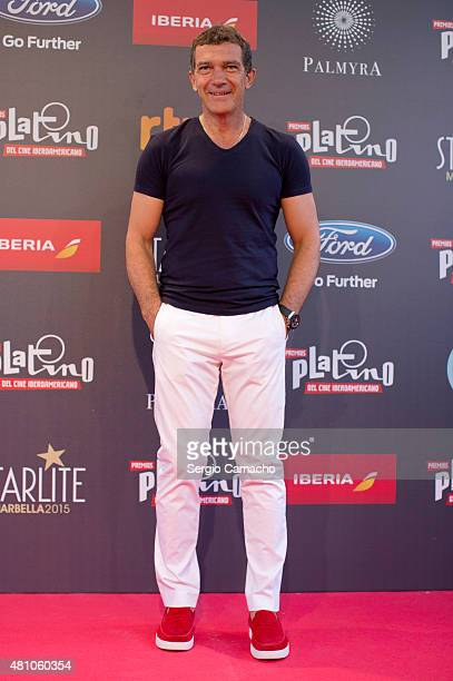 Spanish actor Antonio Banderas attends a photocall before the TNTLA Platino Awards 2015 press conference at Hotel Los Monteros on July 17 2015 in...