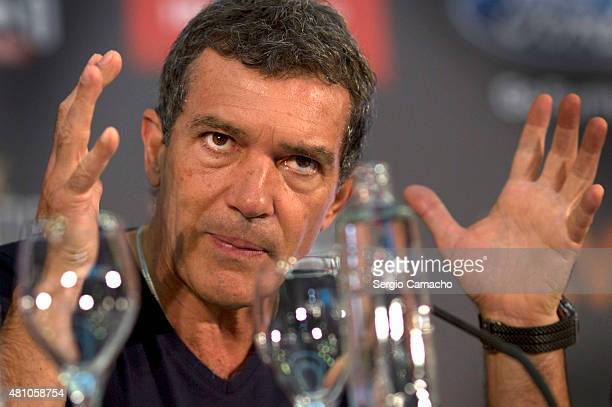 Spanish actor Antonio Banderas attends a press conference for the TNTLA Platino Awards 2015 at Hotel Los Monteros on July 17 2015 in Marbella Spain
