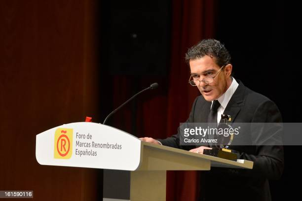Spanish actor Antonio Banderas delivers a speech during the acreditations ceremony for honorary Spain 'Brand Ambassadors' at the Ciudad Financiera...
