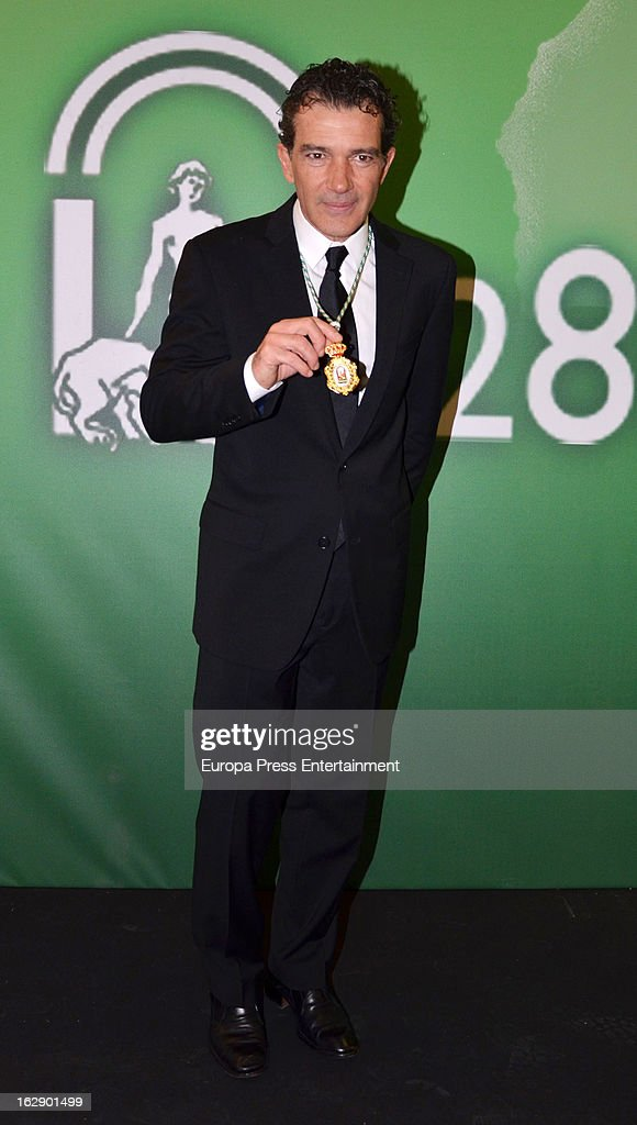 Spanish actor Antonio Banderas receives the title of 'Favorite Son of Andalucia' at Maestranza Theatre on February 28, 2013 in Seville, Spain.