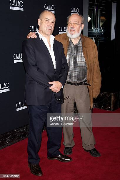 Spanish actor Antonio Resines and Spanish director Jose Luis Cuerda attend 'Amanece Que No Es Poco' 25th anniversary at the Callao cinema on October...